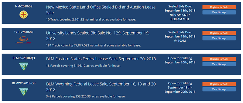 Image showing Active Government Lease Sales Banners