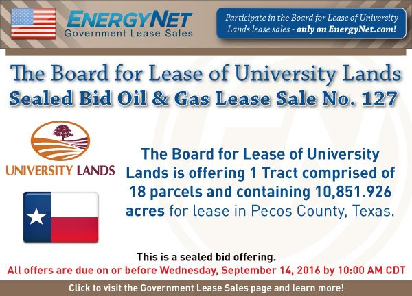 University Lands Sale Sept2016