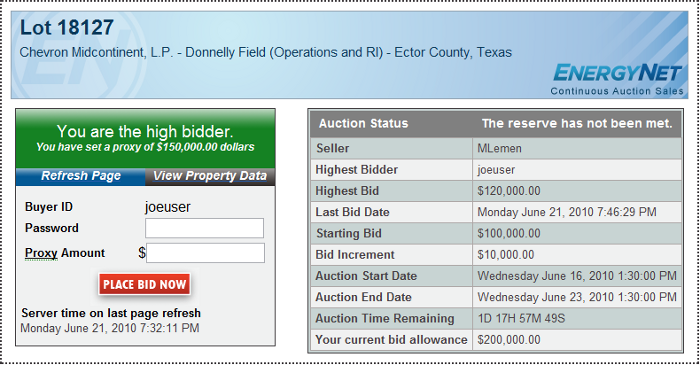 Bid page high bidder